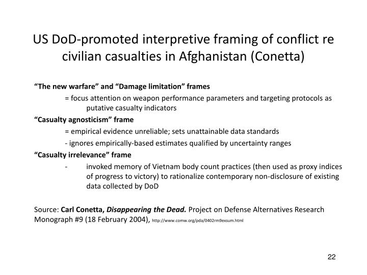US DoD-promoted interpretive framing of conflict re civilian casualties in Afghanistan (Conetta)