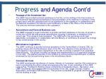 progress and agenda cont d