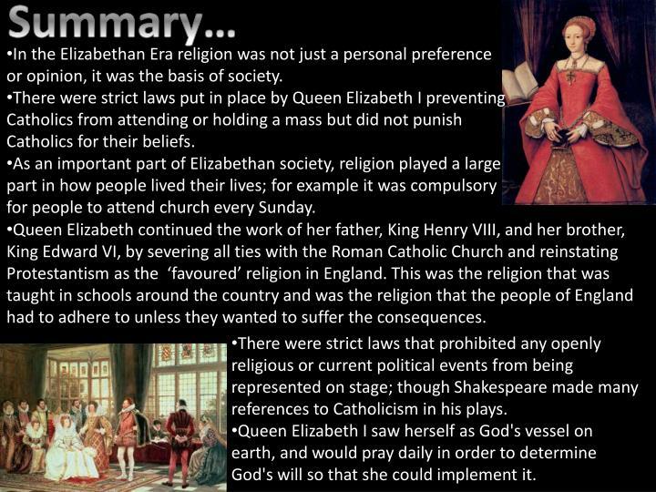 elizabethan era religion