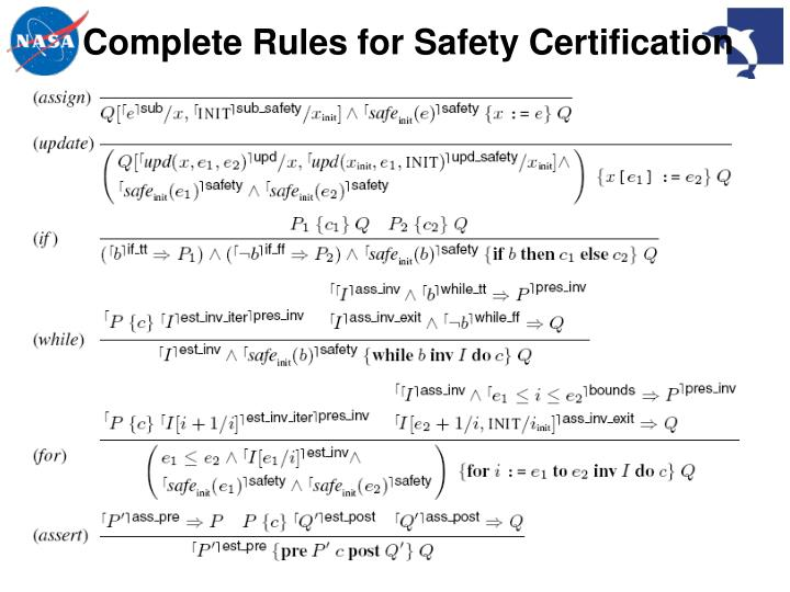 Complete Rules for Safety Certification