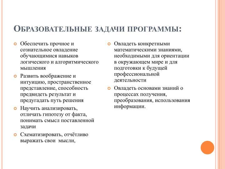 Образовательные задачи программы: