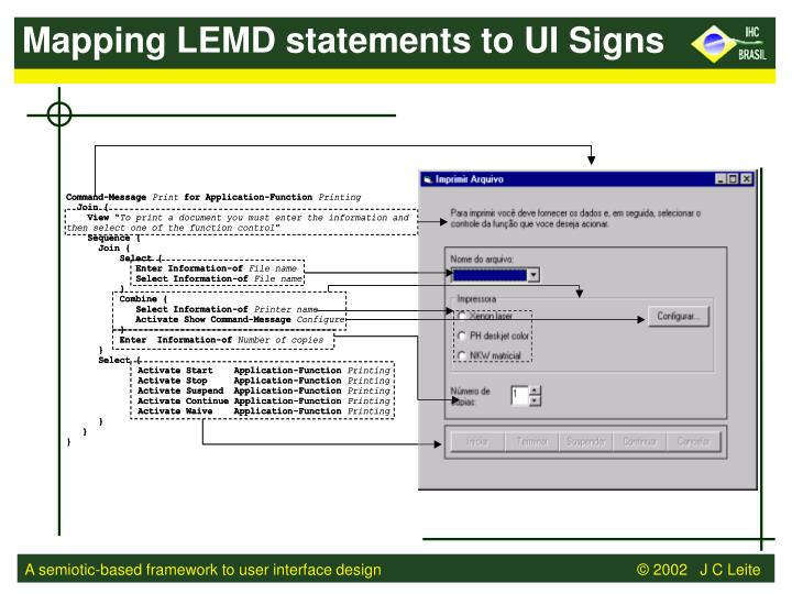 Mapping LEMD statements to UI Signs