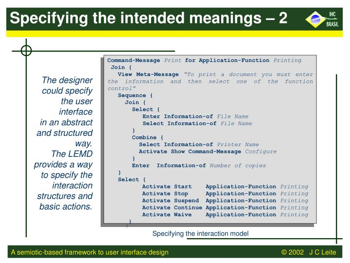 Specifying the intended meanings – 2