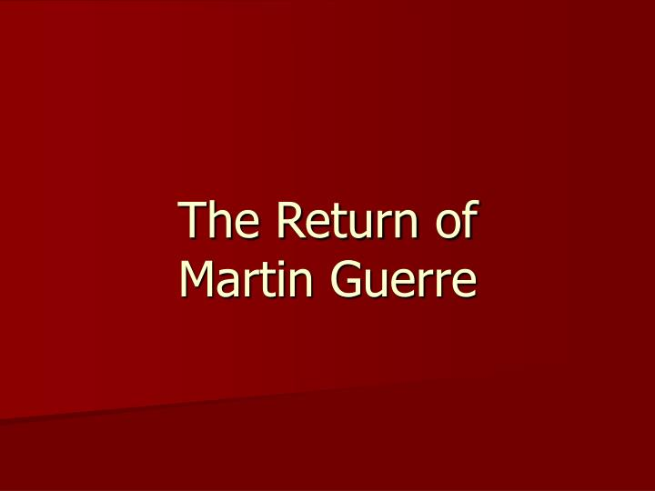 the return of martin guerre n.
