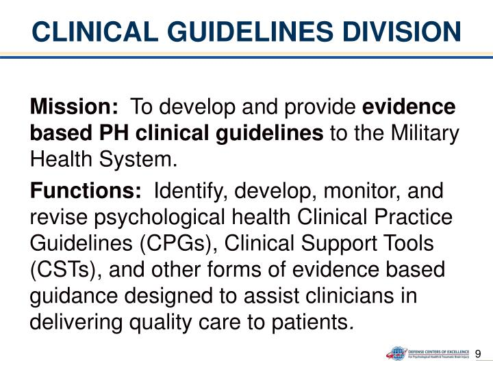 CLINICAL GUIDELINES DIVISION