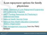 loan repayment options for family physicians