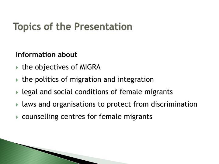 Topics of the presentation