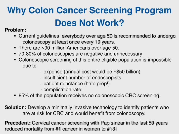 Why Colon Cancer Screening Program Does Not Work?