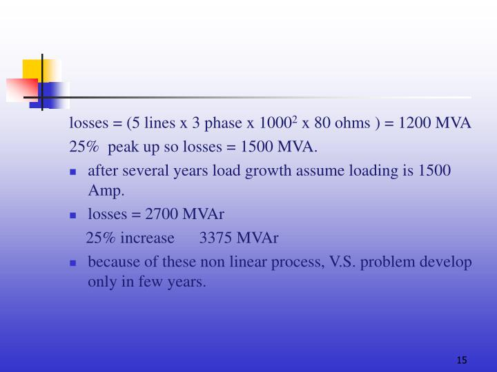 losses = (5 lines x 3 phase x 1000
