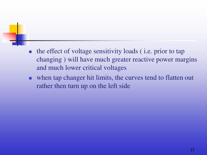 the effect of voltage sensitivity loads ( i.e. prior to tap changing )