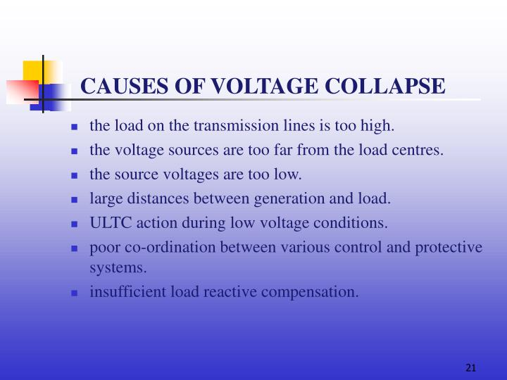 CAUSES OF VOLTAGE COLLAPSE