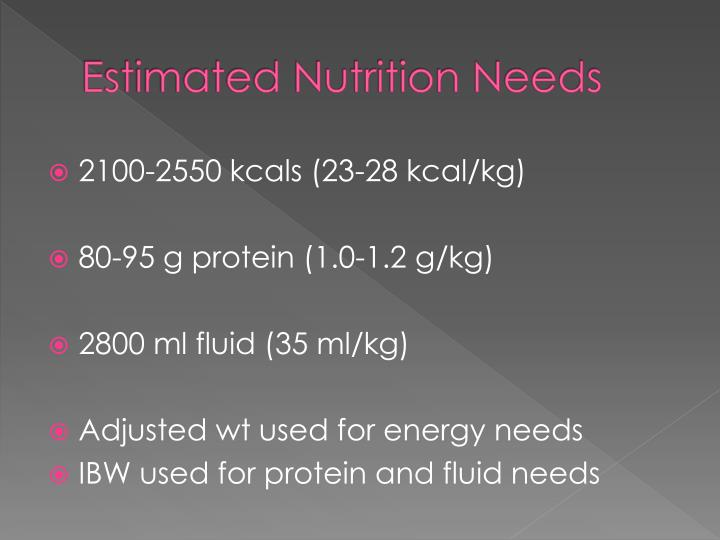Estimated Nutrition Needs