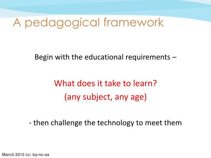 A pedagogical framework