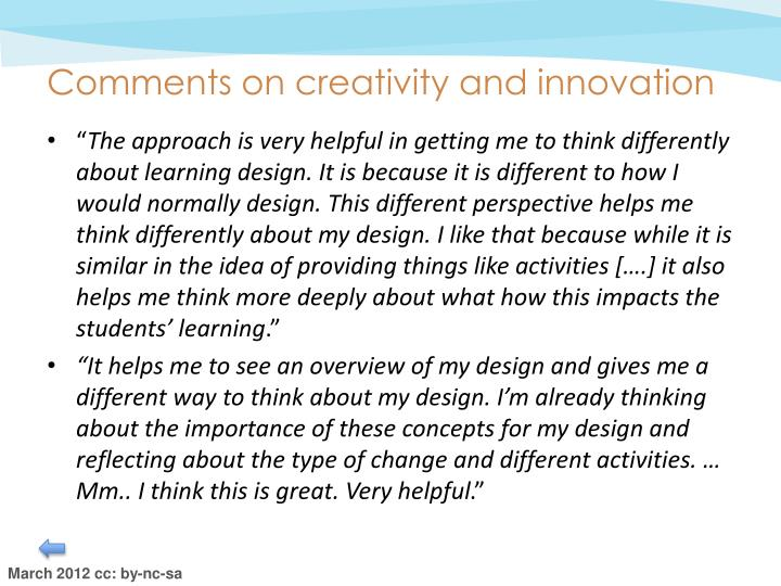 Comments on creativity and innovation