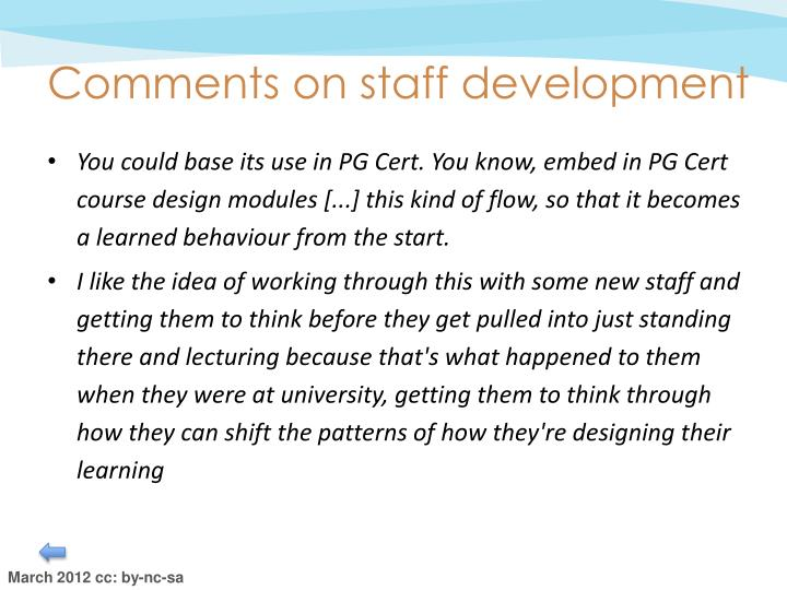 Comments on staff development