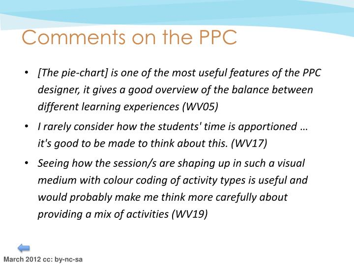 Comments on the PPC