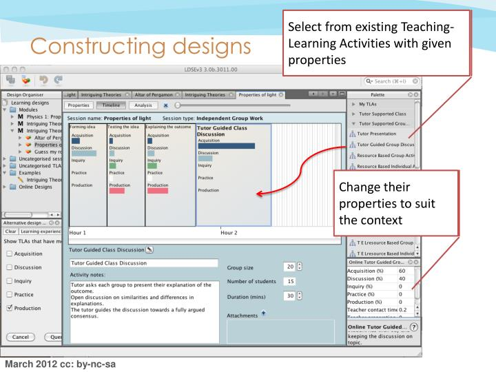 Select from existing Teaching-Learning Activities with given properties