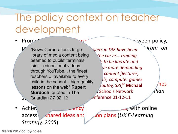 The policy context on teacher development