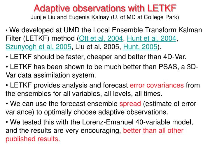 Adaptive observations with LETKF