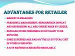 advantages for retailer