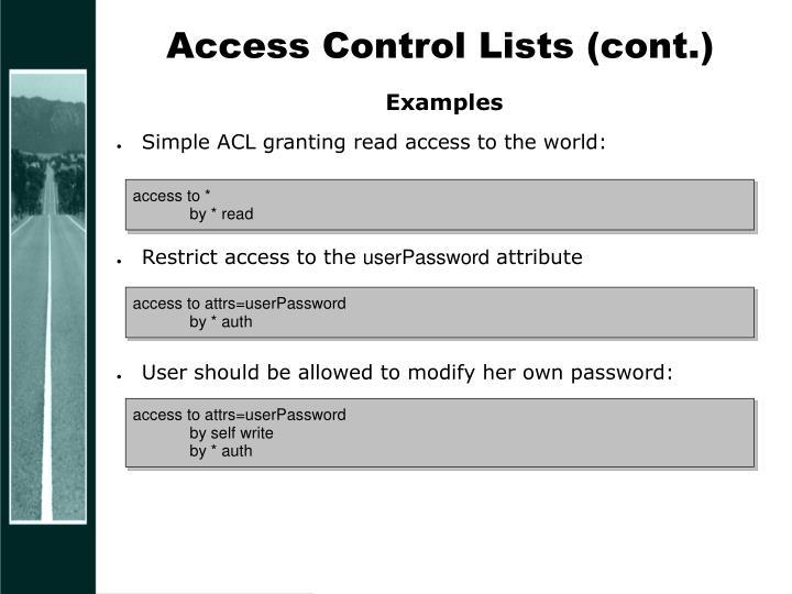 Access Control Lists (cont.)