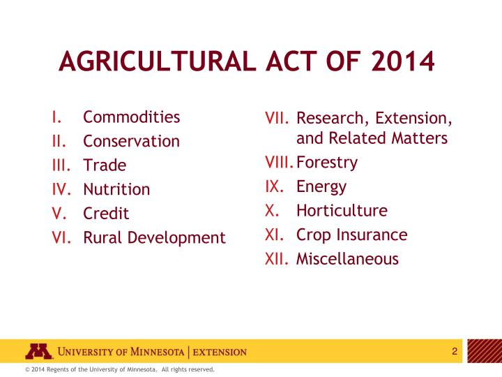Agricultural act of 2014