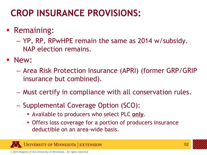 CROP INSURANCE PROVISIONS: