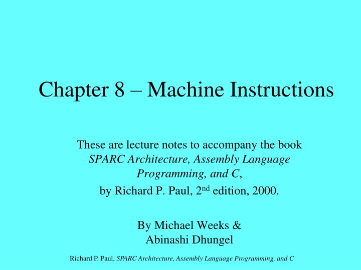 Chapter 8 machine instructions