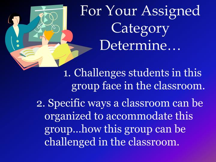 For your assigned category determine