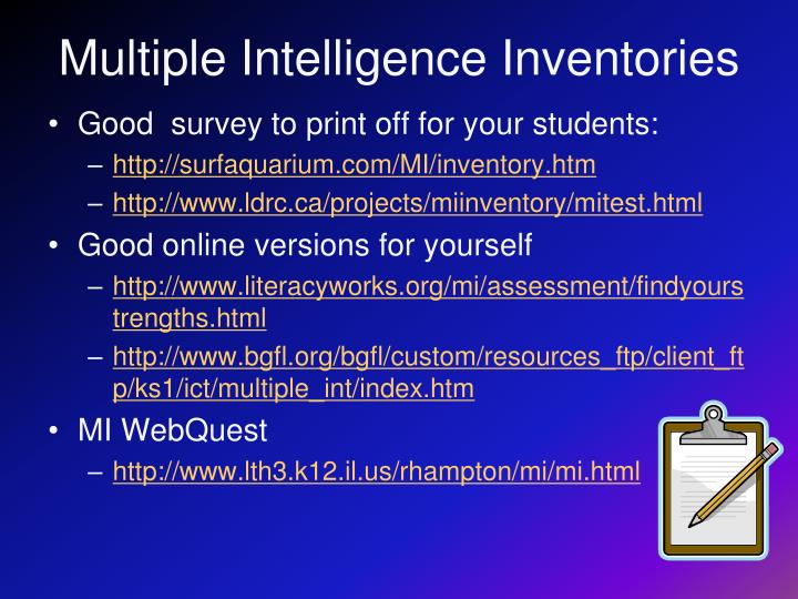 Multiple Intelligence Inventories