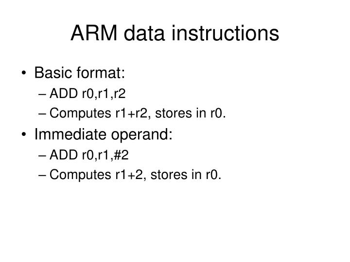 ARM data instructions