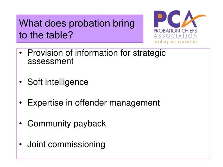What does probation bring to the table?