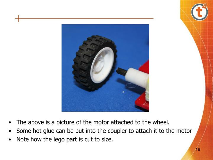 The above is a picture of the motor attached to the wheel.