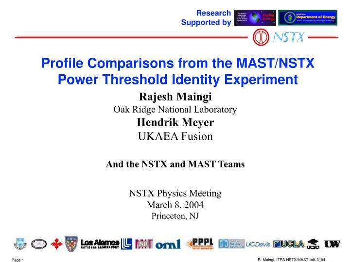 profile comparisons from the mast nstx power threshold identity experiment