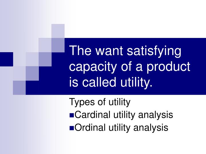 the want satisfying capacity of a product is called utility n.
