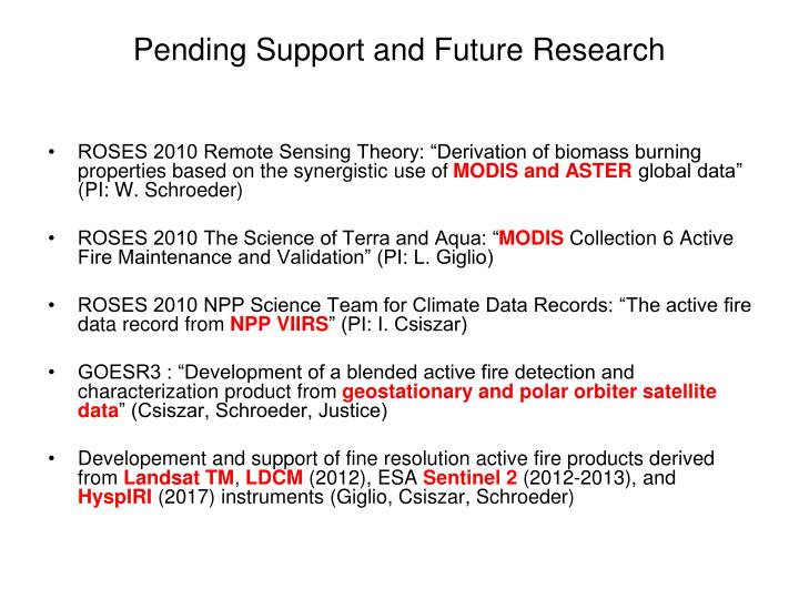 Pending Support and Future Research