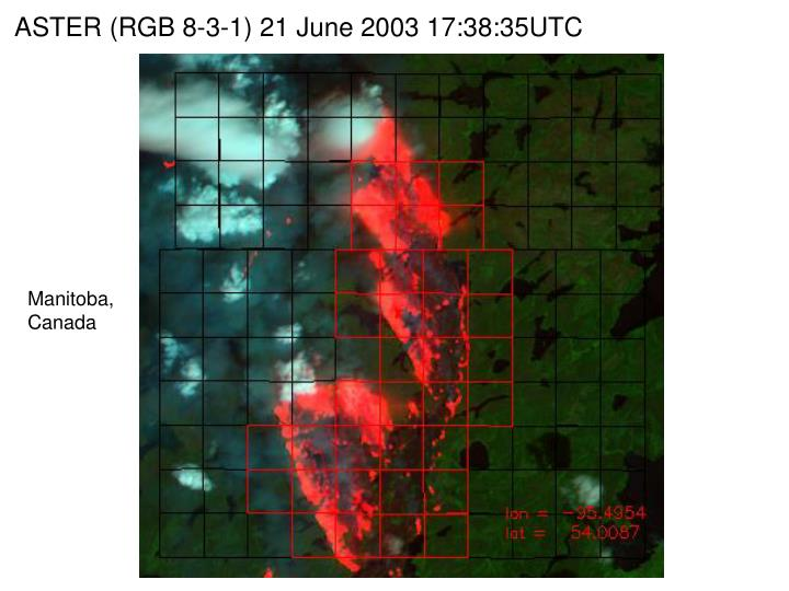 ASTER (RGB 8-3-1) 21 June 2003 17:38:35UTC