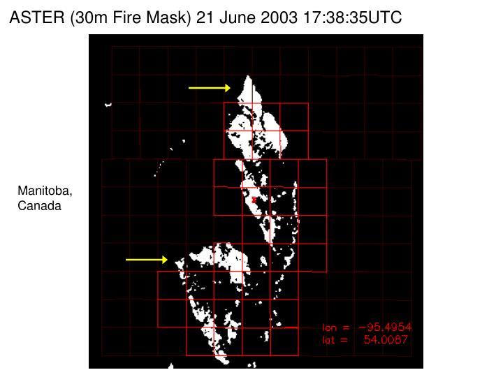 ASTER (30m Fire Mask) 21 June 2003 17:38:35UTC