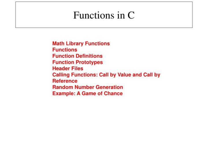 PPT - Functions in C PowerPoint Presentation - ID:4706900