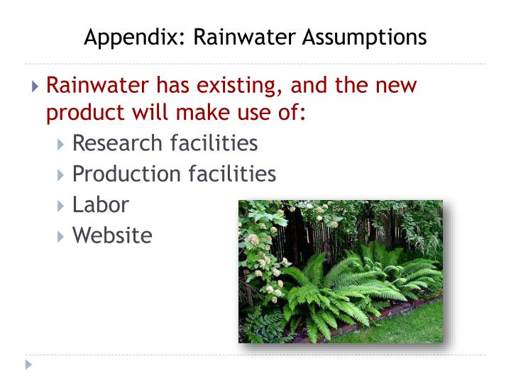 Appendix: Rainwater Assumptions