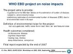 who ebd project on noise impacts