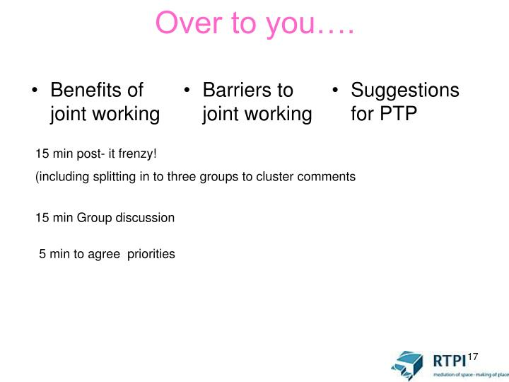Benefits of joint working