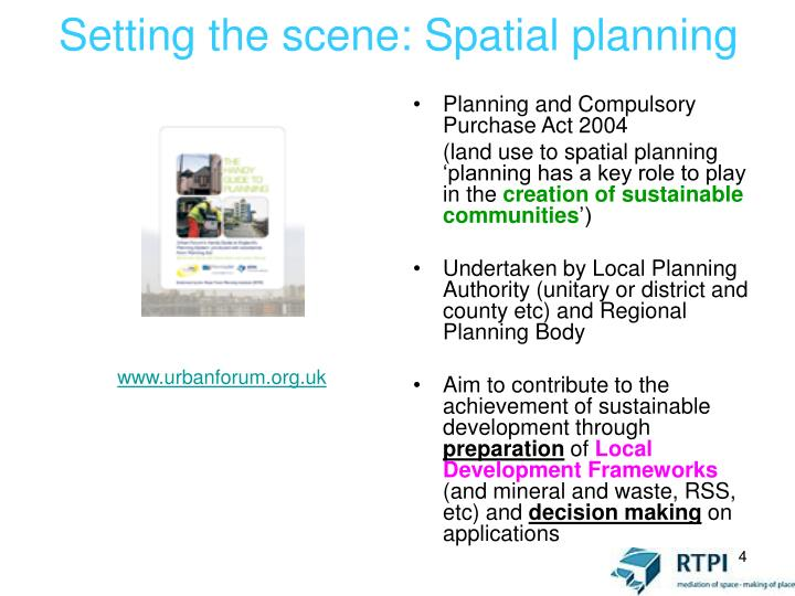 Setting the scene: Spatial planning