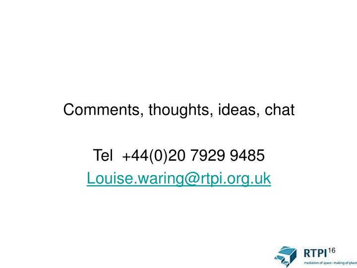 Comments, thoughts, ideas, chat