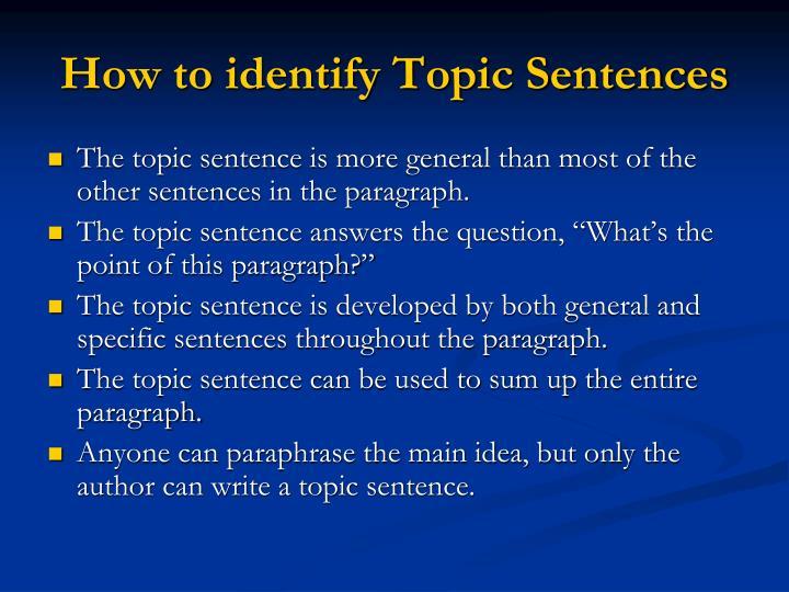 How to identify Topic Sentences