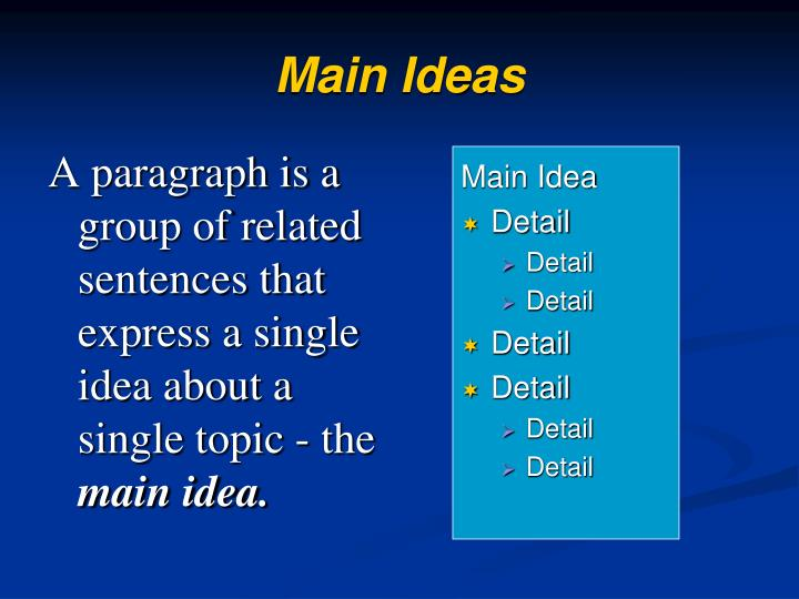 A paragraph is a group of related sentences that express a single idea about a single topic - the