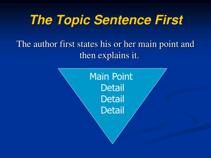 The Topic Sentence First