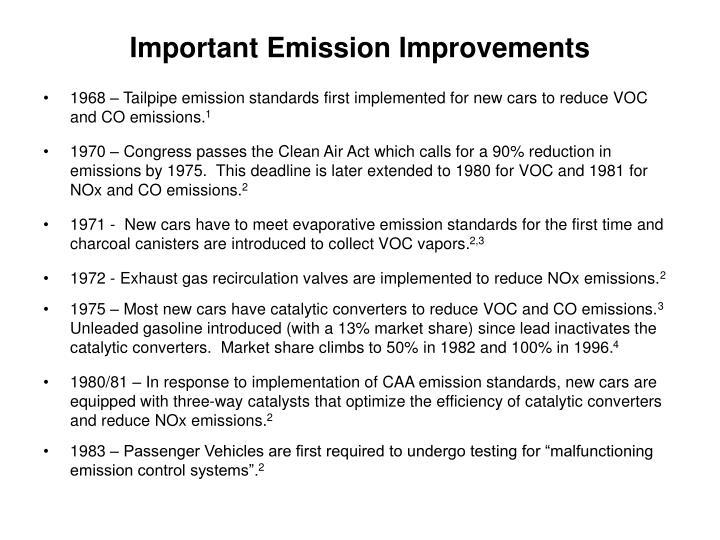 Important Emission Improvements