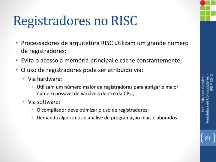 Registradores no RISC