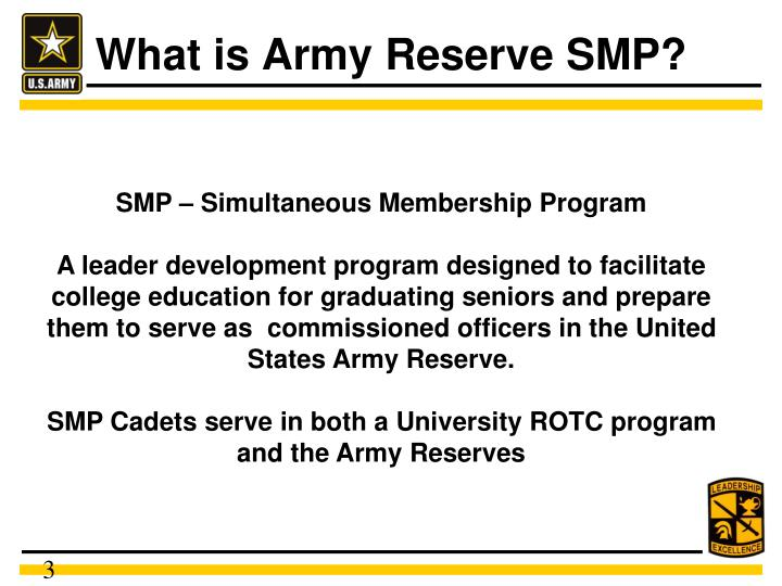 Ppt army reserve simultaneous membership program powerpoint what is army reserve smp toneelgroepblik Images